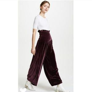 NEW Rebecca Taylor Smocked Velvet Wide Leg Pants